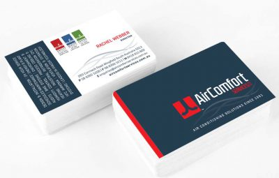 Icon Graphic Design Adelaide - Air Comfort Services business card design displayed on 2 small stacks of cards.
