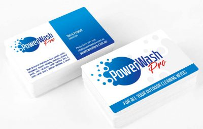 Icon Graphic Design Adelaide - PowerWash Pro business card design displayed on 2 small stacks of cards.