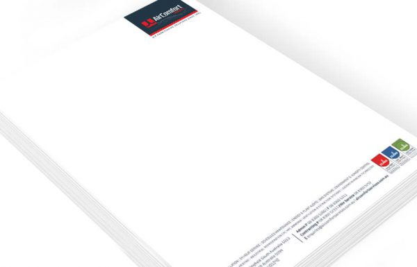 Icon Graphic Design Adelaide - business card design page image of Air Comfort Services letterhead design displayed on a small stack