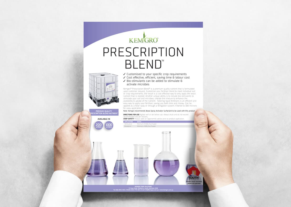 Icon Graphic Design - brochure design page image of Kemgro Crop Solutions Prescription Blend flyer being held by a mans hands.