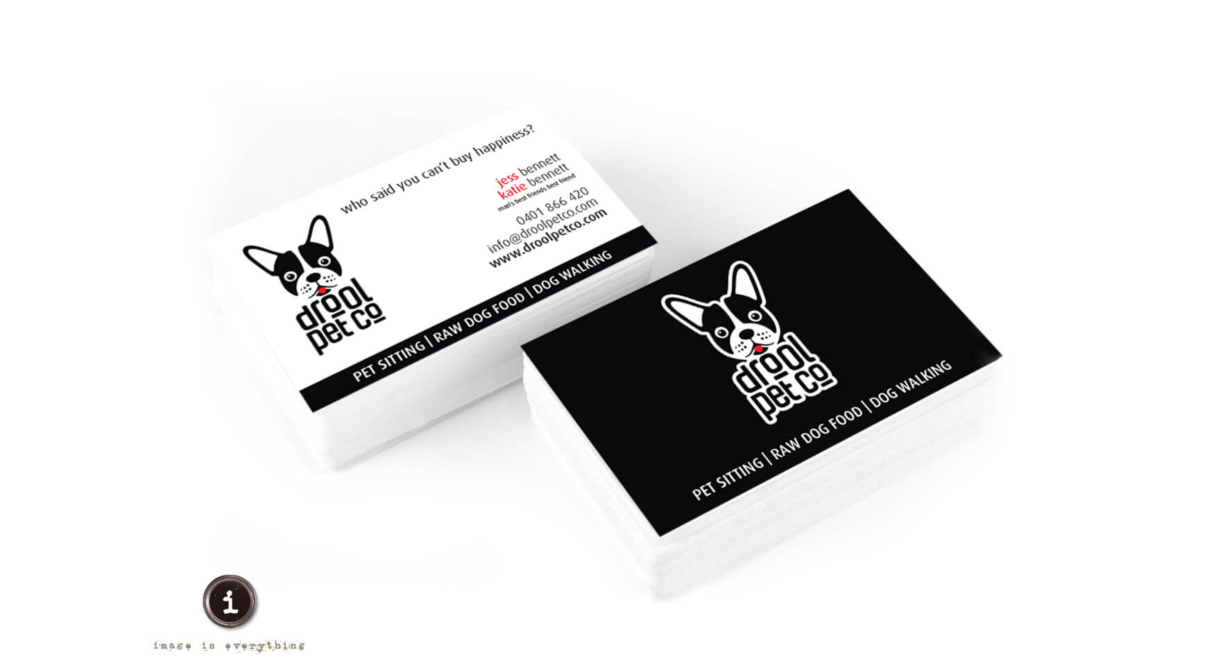Icon Graphic Design Adelaide - Drool Pet Co. business cards, two stacks of cards with front on one stack and the back on the other stack.