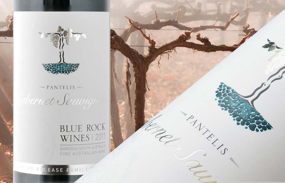 Icon Graphic Design Adelaide - packaging page image of Blue Rock Wines Pantelis Cabernet Sauvignon Blanc wine label design.