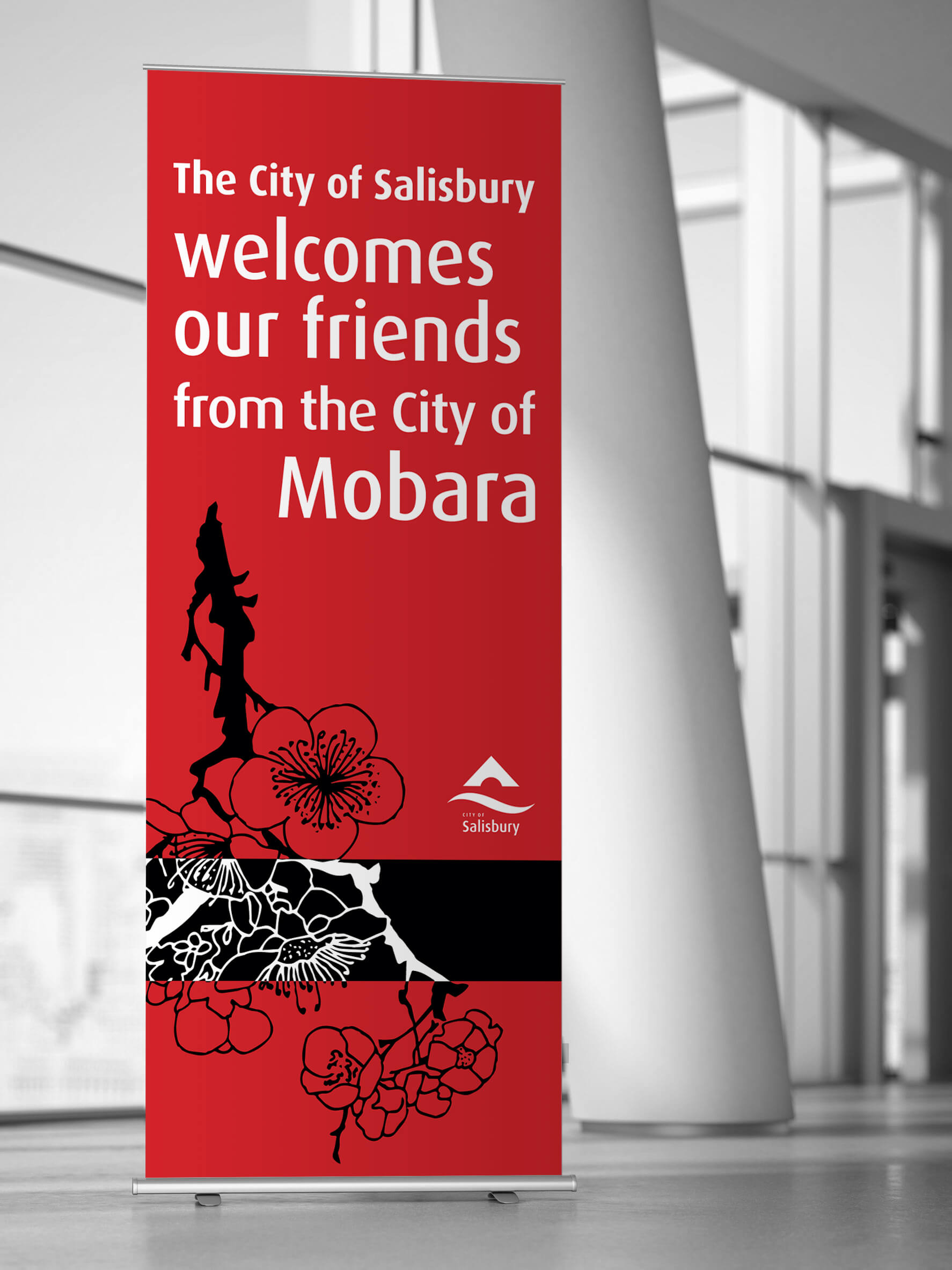 Icon Graphic Design Adelaide - business card design page image of City of Salisbury Mobara pull-up display.