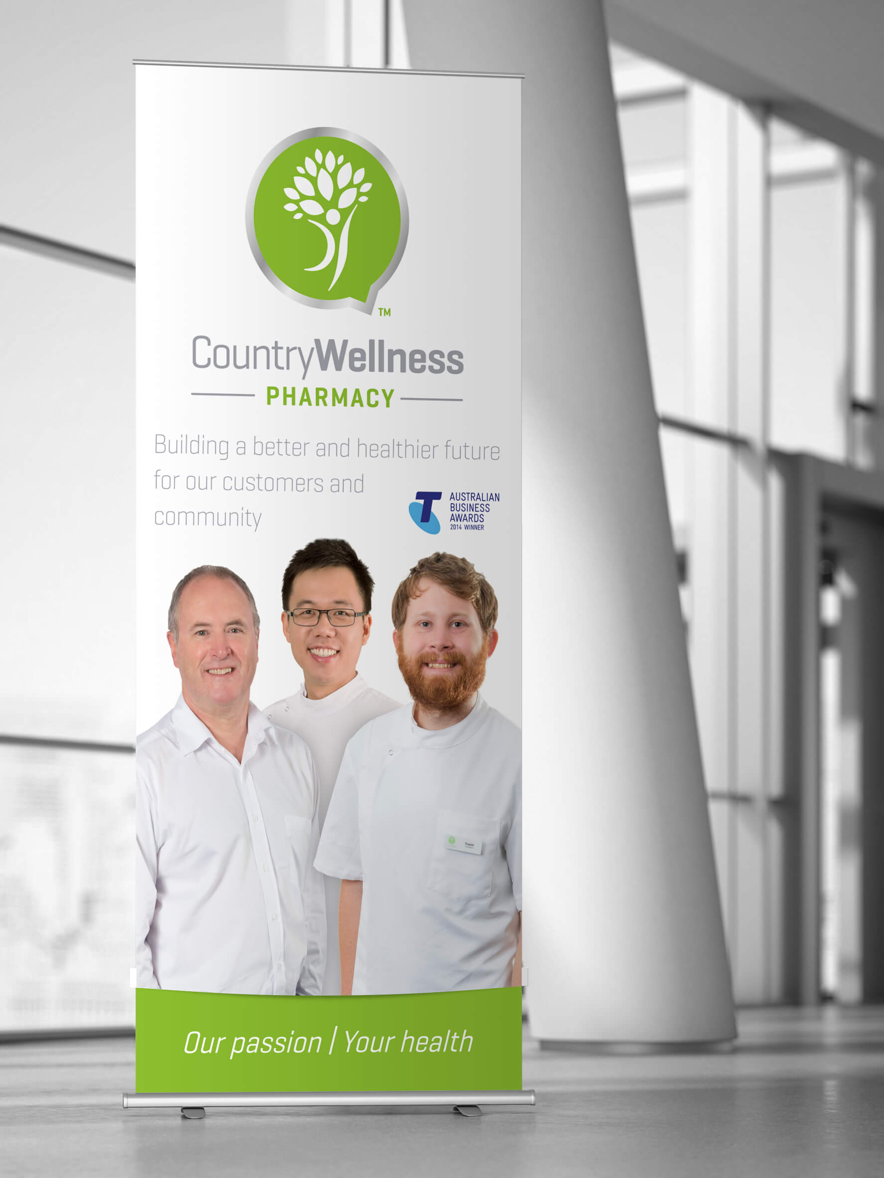 Icon Graphic Design Adelaide - business card design page image of Country Wellness Pharmacy pull-up display.