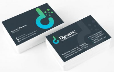 Icon Graphic Design Adelaide - stack of Dynamic Electrical Systems Australia business cards.