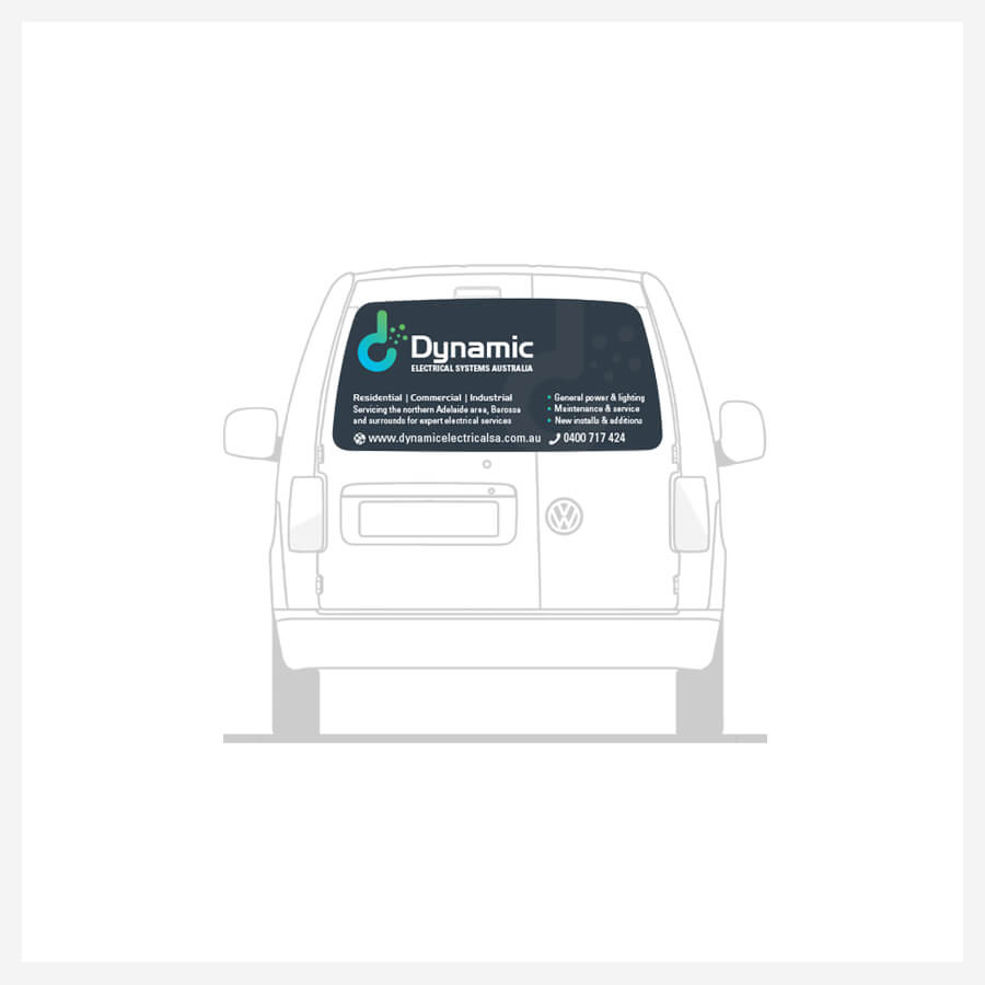Icon Graphic Design Adelaide - Dynamic Electrical Systems Australia rear side image of van decals.