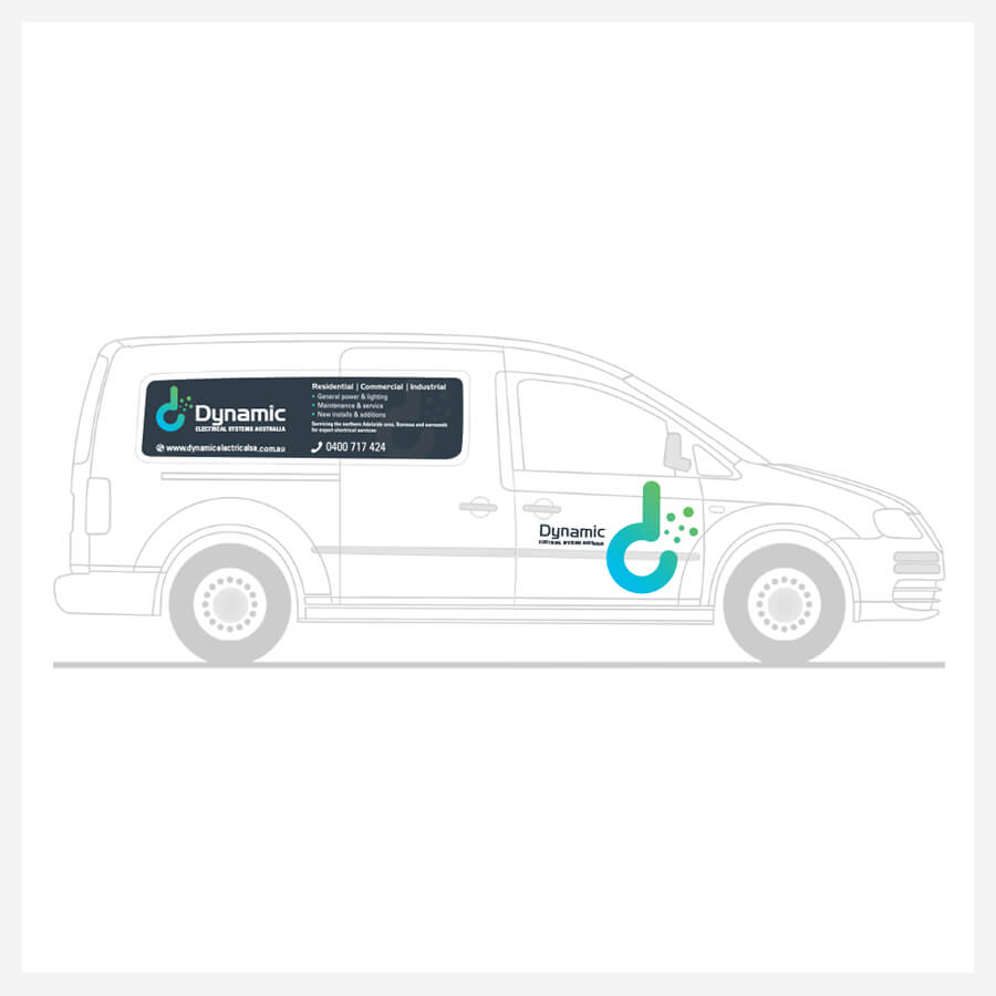 Icon Graphic Design Adelaide - Dynamic Electrical Systems Australia right side image of van decals.