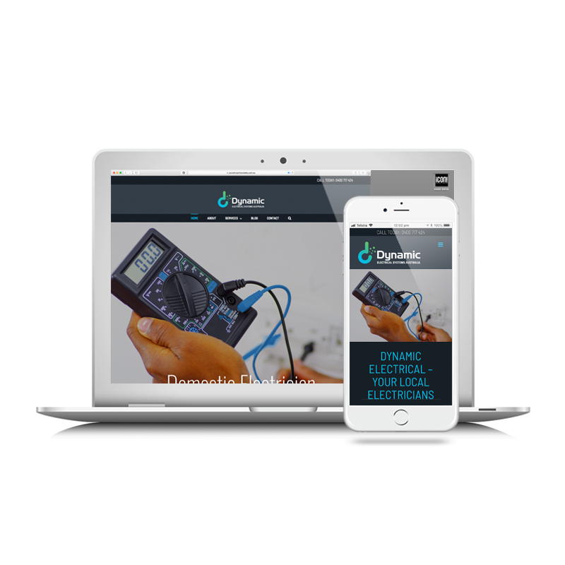 Icon Graphic Design Adelaide - Dynamic Electrical website image on Laptop and iPhone.