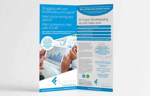 Icon Graphic Design Adelaide - business card design page image of Fusion Bookkeeping Flyer.