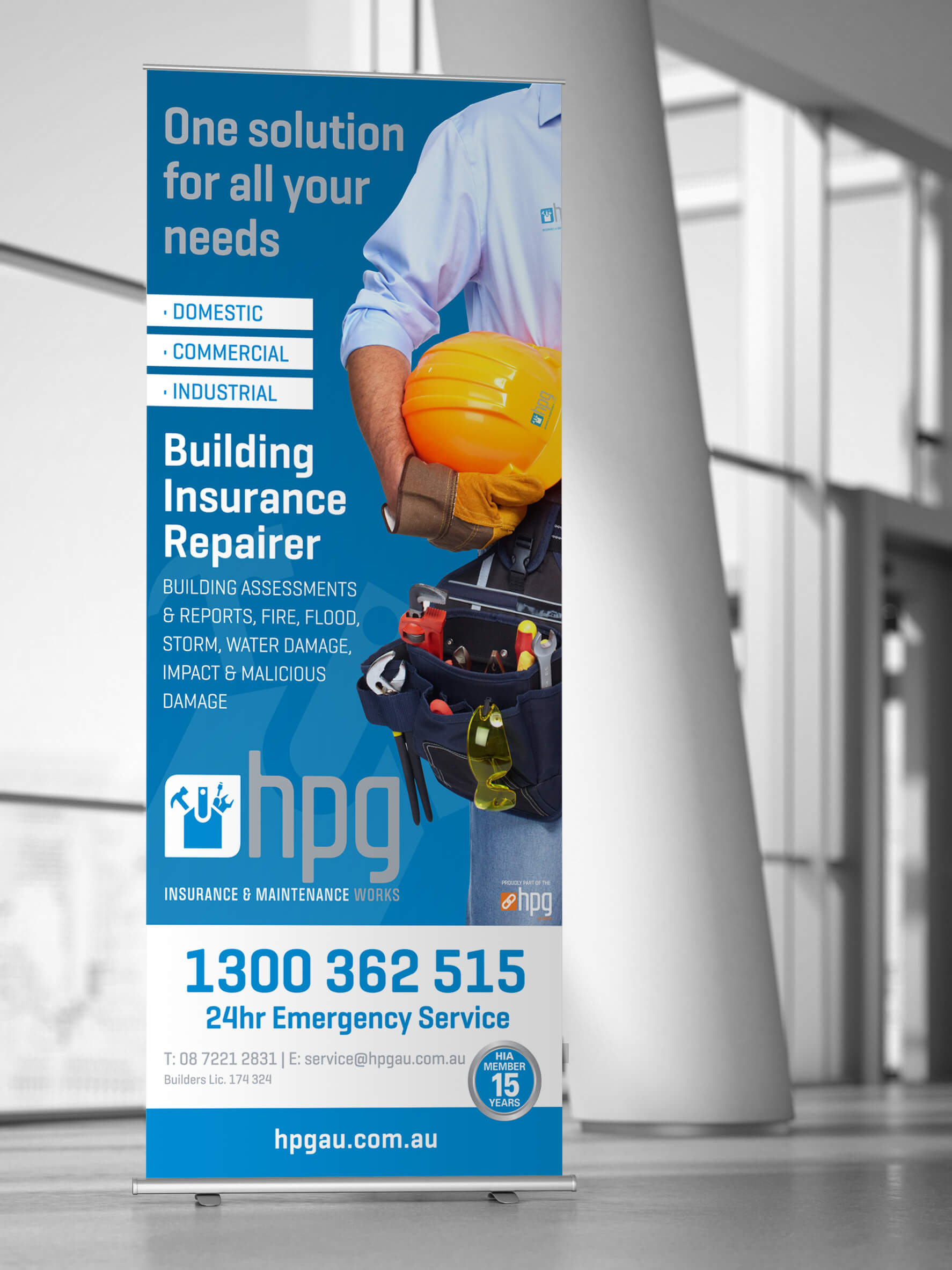 Icon Graphic Design Adelaide - business card design page image of HPG Insurance & Maintenance Works pull-up display.