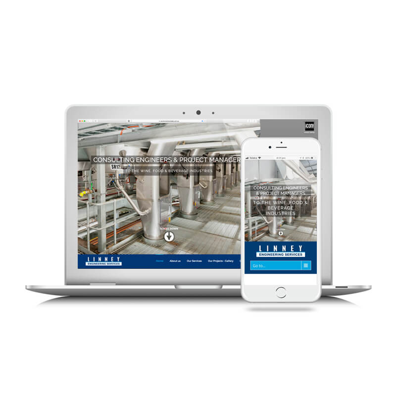Icon Graphic Design Adelaide - Linney Engineering website image on Laptop and iPhone.