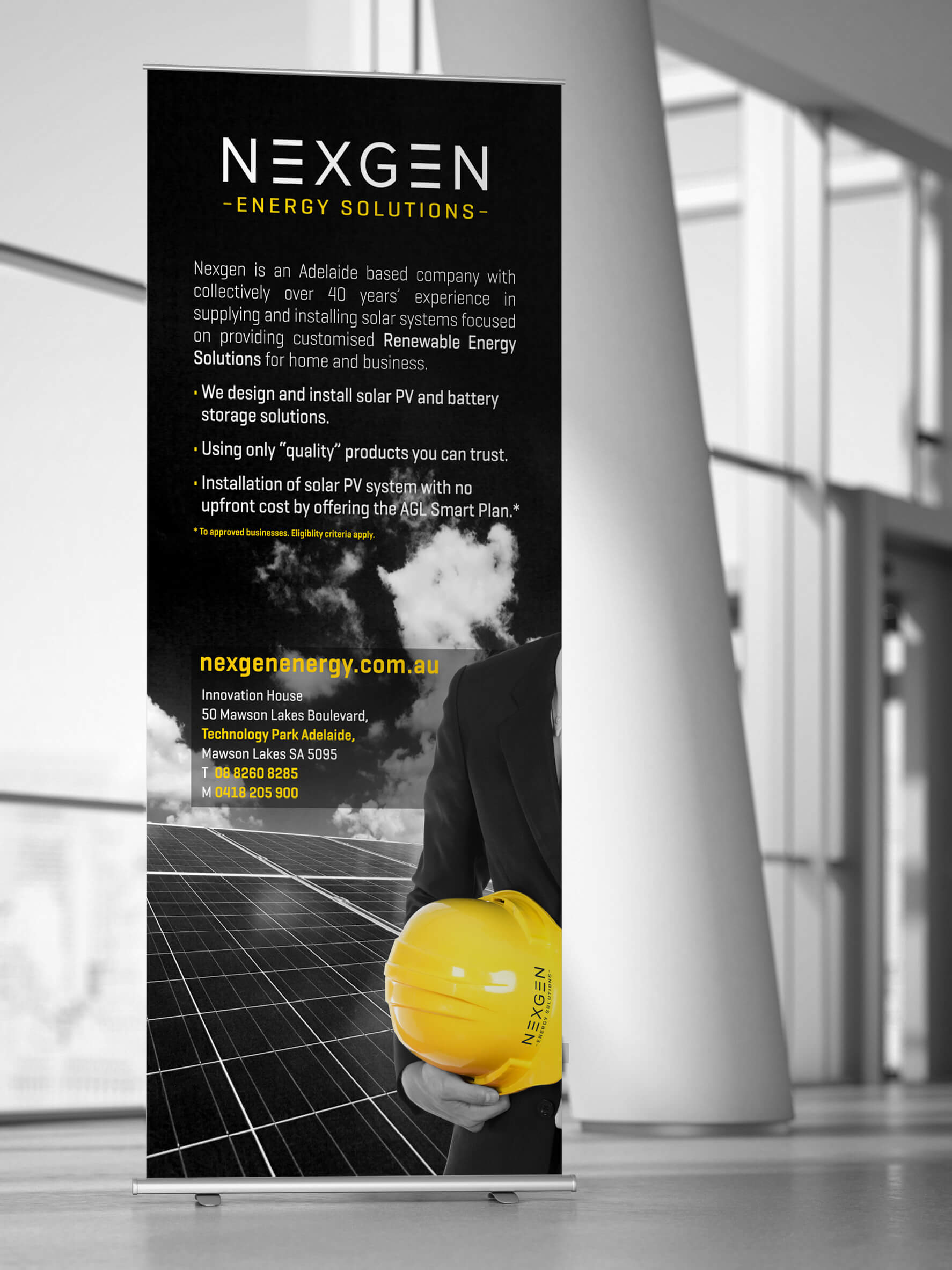 Icon Graphic Design Adelaide - business card design page image of Nexgen Energy Solutions pull-up display.
