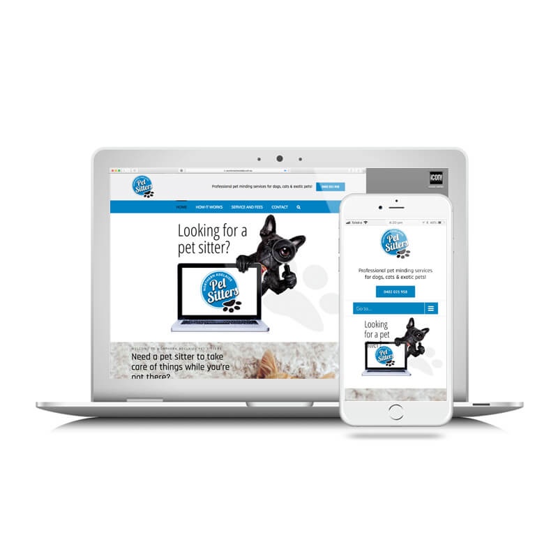 Icon Graphic Design Adelaide - Northern Adelaide Pet Sitters website image on Laptop and iPhone.