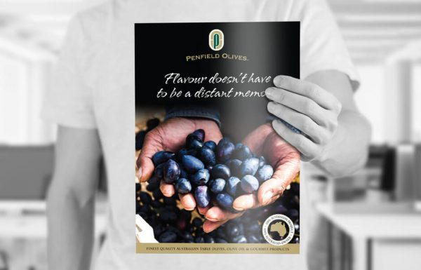 Icon Graphic Design Adelaide - business card design page image of Penfield Olives brochure cover.