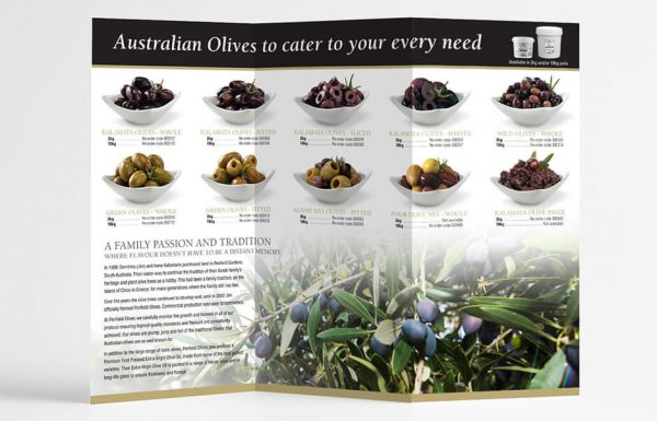 Icon Graphic Design Adelaide - business card design page image of Penfield Olives flyer inside.