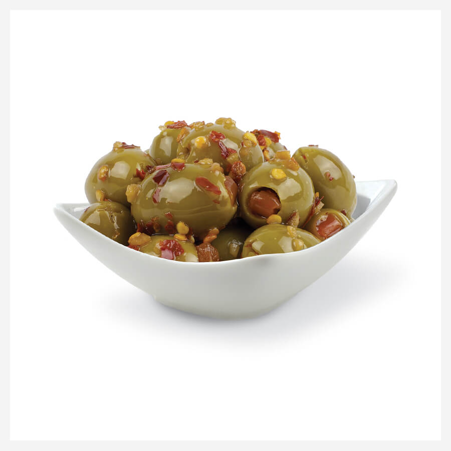Icon Graphic Design Adelaide - Penfield Olives Green Stuffed Marinated Olives in a white bowl.