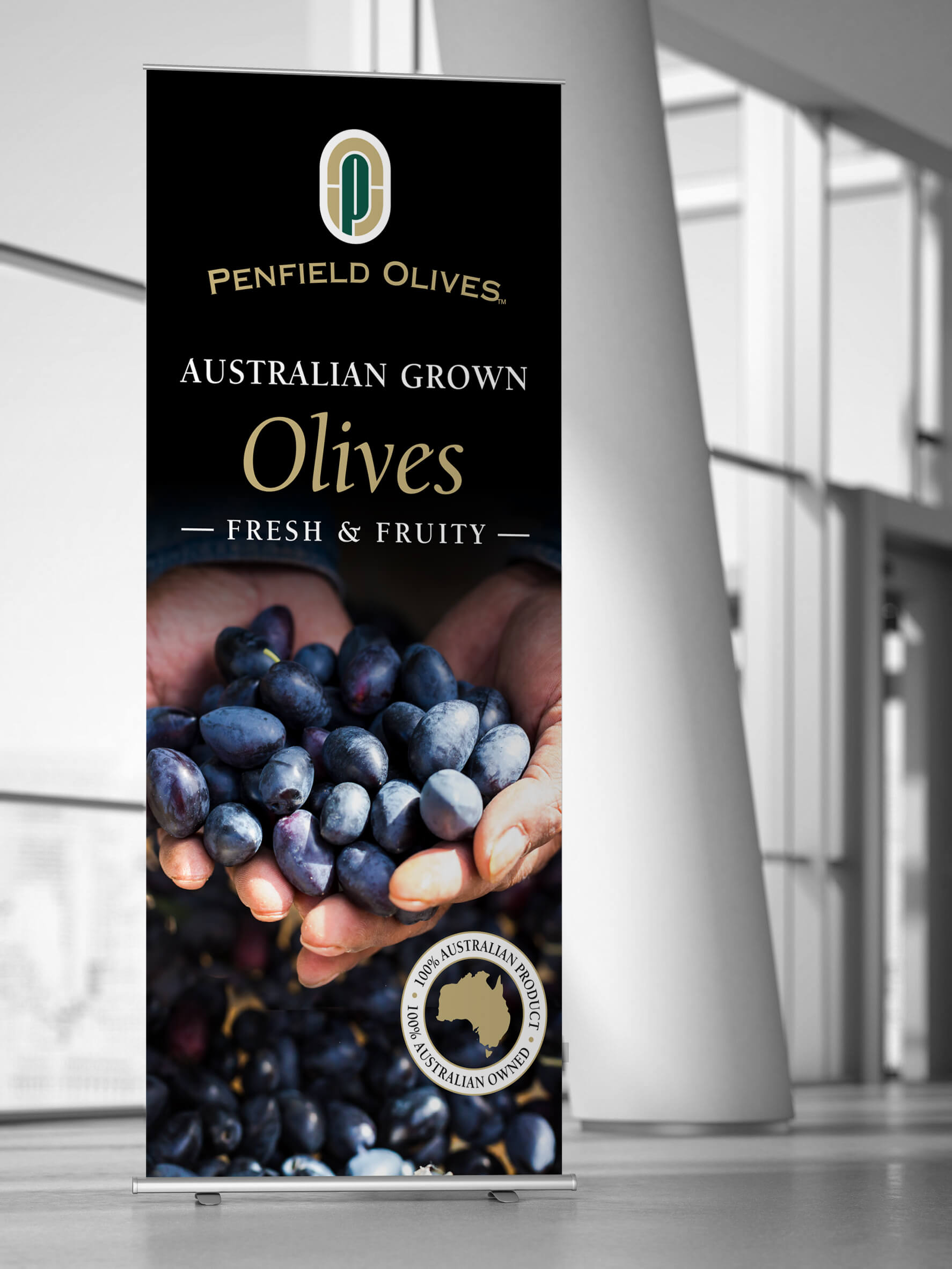 Icon Graphic Design Adelaide - business card design page image of Penfield Olives pull-up display.