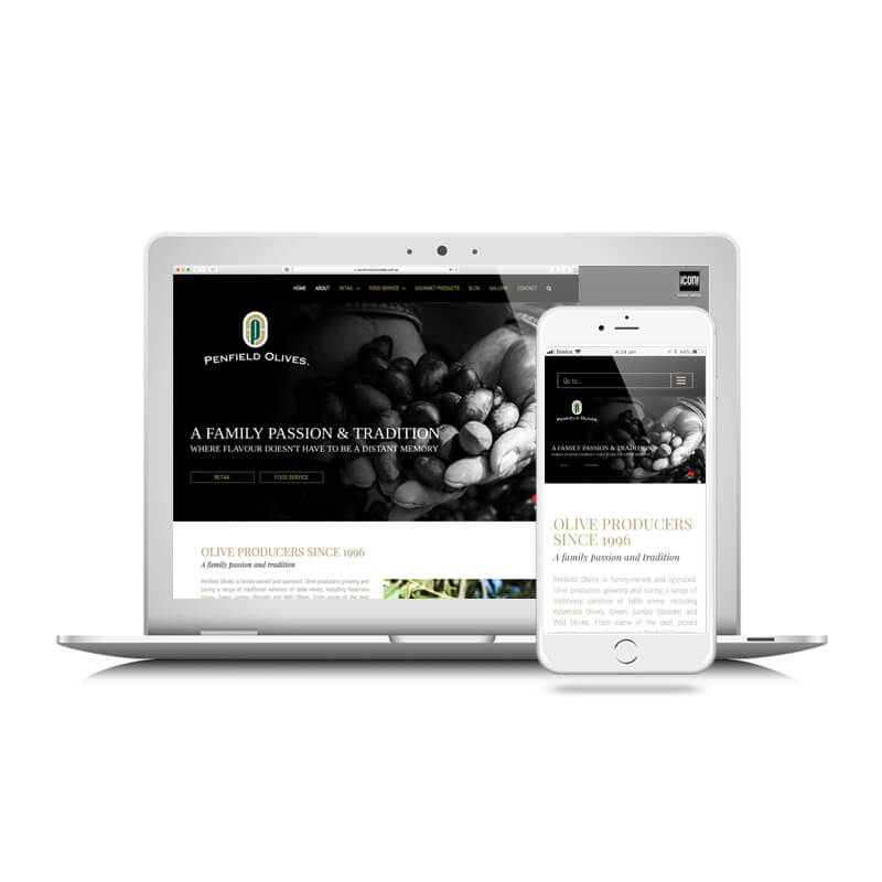 Icon Graphic Design Adelaide - Penfield Olives website image on Laptop and iPhone.