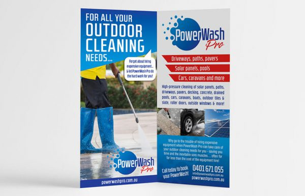 Icon Graphic Design Adelaide - business card design page image of PowerWash Pro flyer.