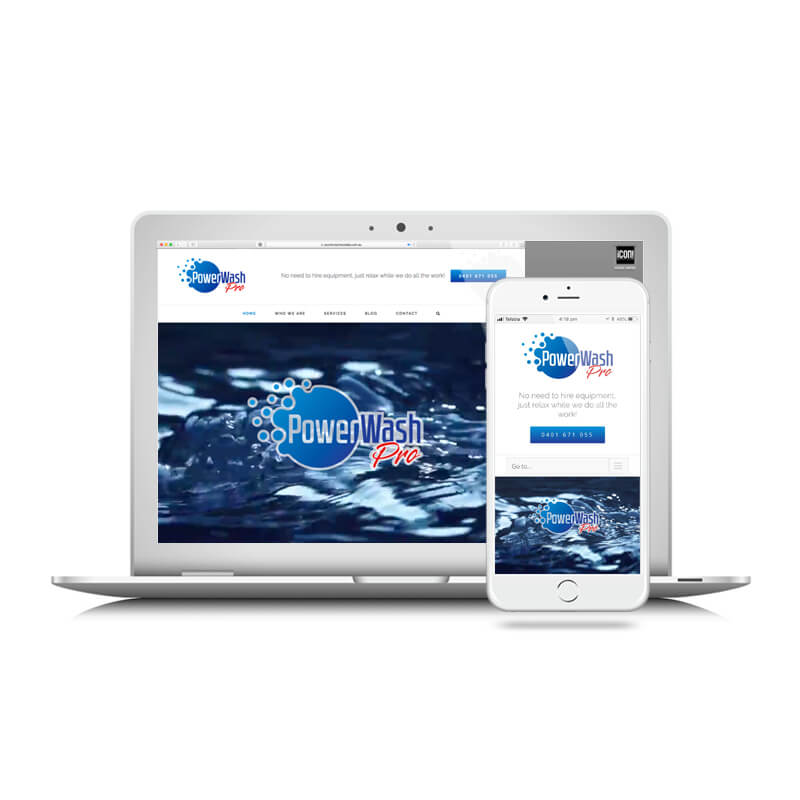 Icon Graphic Design Adelaide - PowerWash Pro website image on Laptop and iPhone.