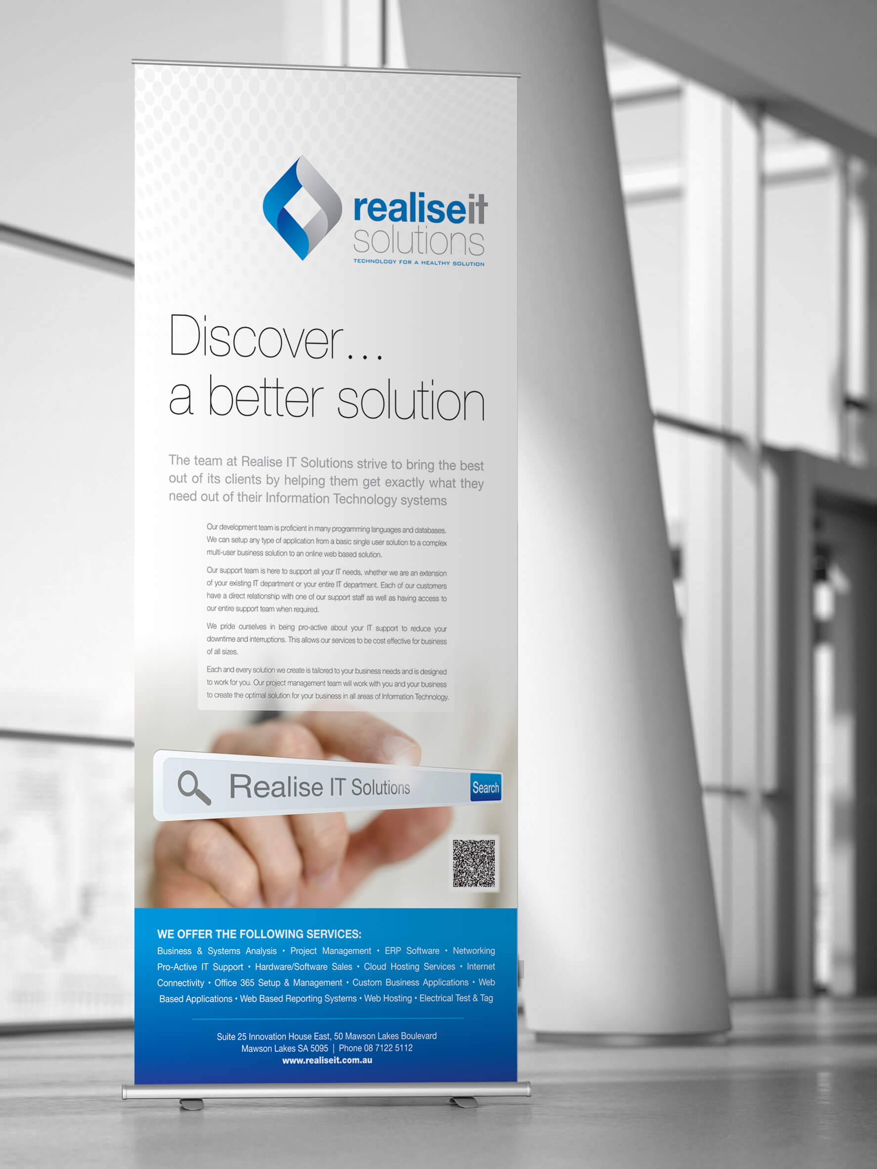 Icon Graphic Design Adelaide - business card design page image of Realise IT pull-up display.
