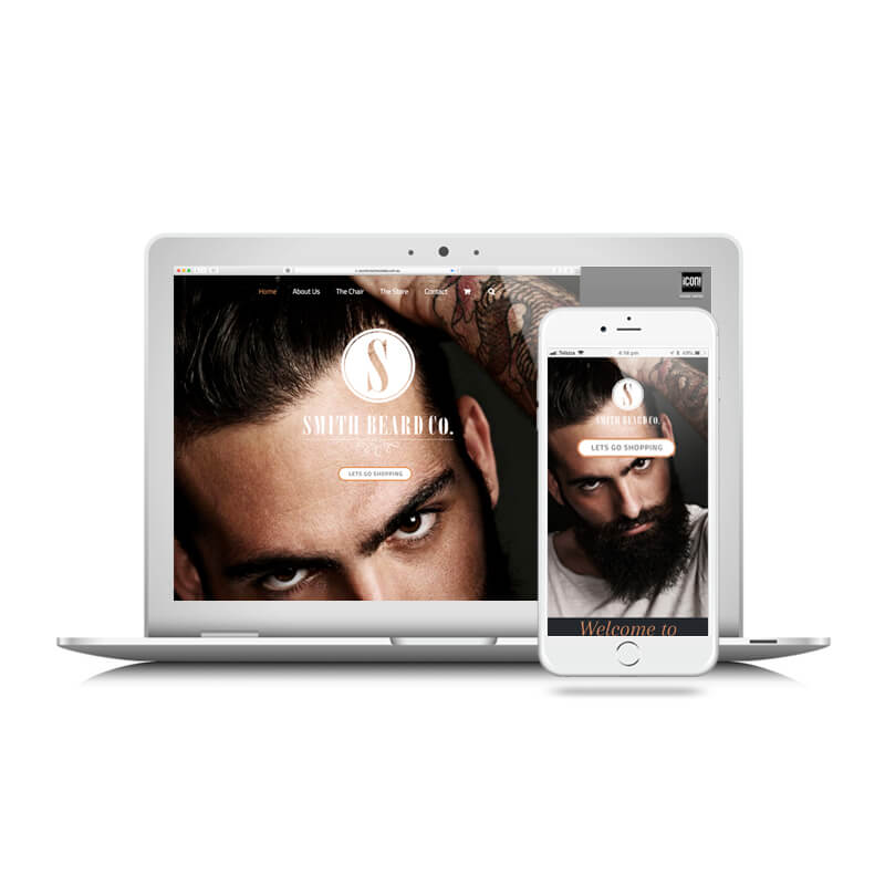 Icon Graphic Design Adelaide - Smith Beard Co. website image on Laptop and iPhone.