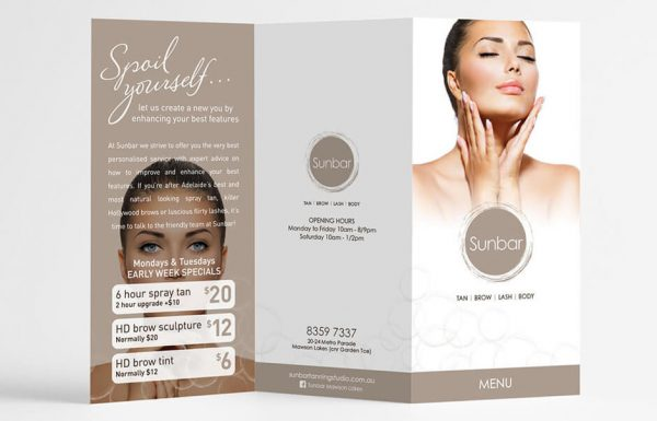 Icon Graphic Design Adelaide - business card design page image of Sunbar flyer outside.