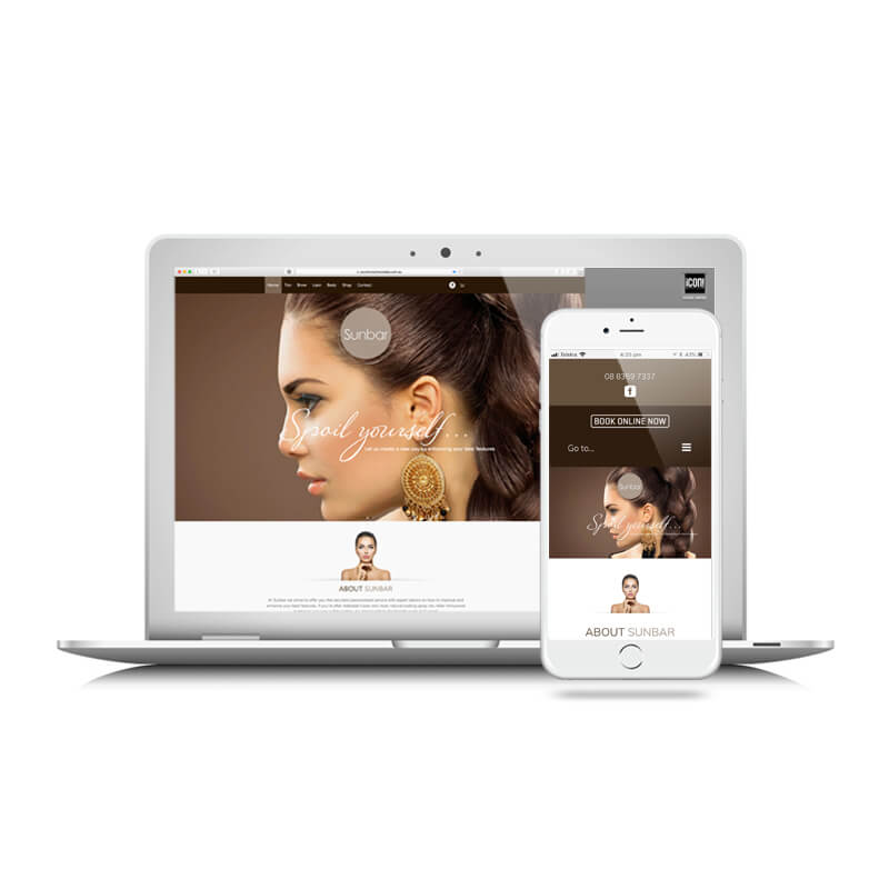 Icon Graphic Design Adelaide - Sunbar Tanning Studio website image on Laptop and iPhone.