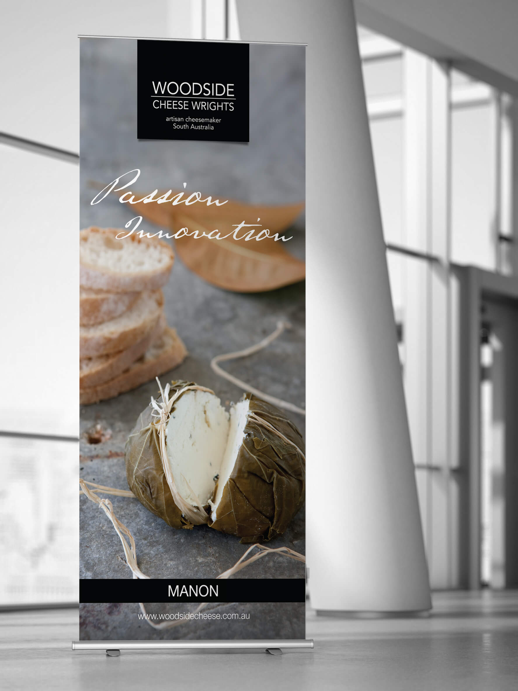 Icon Graphic Design Adelaide - business card design page image of Woodside Cheese pull-up display.