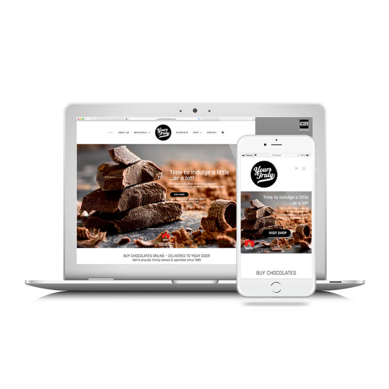 Icon Graphic Design Adelaide - Yours Truly Chocolates Website image on Laptop and iPhone.